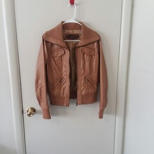 Camel Faux Leather Bomber Style Jacket